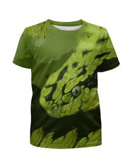"""Футболка с полной запечаткой для мальчиков """"Змея """" - змея, зеленый, опасный, ядовитый, гад"""