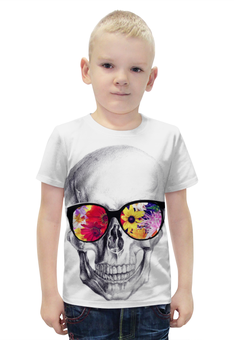 """Футболка с полной запечаткой для мальчиков """"Skull Art"""" - skull, череп, цветы, очки, череп в очках"""