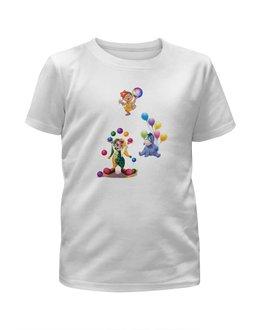 """Футболка с полной запечаткой для мальчиков """"клоун осел девочка шарики."""" - любовь, шарики, день рождения, клоун, осел"""