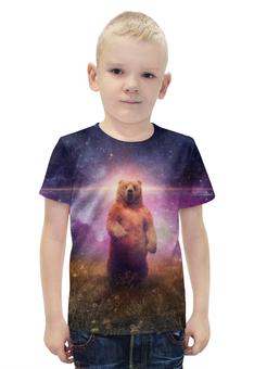 """Футболка с полной запечаткой для мальчиков """"Медведь"""" - медведь, вселенная"""