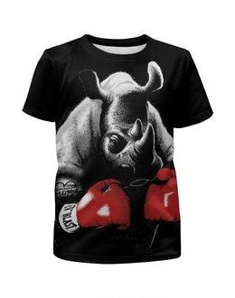 """Футболка с полной запечаткой для мальчиков """"Носорог Боксёр"""" - спорт, бокс, носорог"""