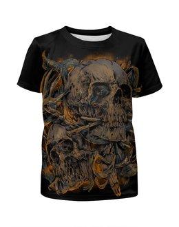 """Футболка с полной запечаткой для мальчиков """"Skull Art"""" - skull, череп, кости, арт дизайн, череп с рогами"""