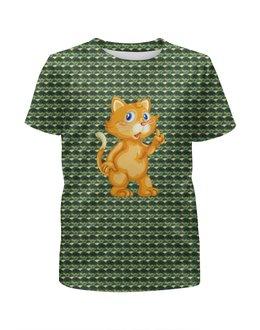 """Футболка с полной запечаткой для мальчиков """"Рыжий кот"""" - кот, котёнок, животные, современный камуфляж, кошка"""