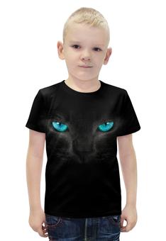 """Футболка с полной запечаткой для мальчиков """"Взгляд черной кошки"""" - кошка, cat, черная кошка, взгляд кошки"""