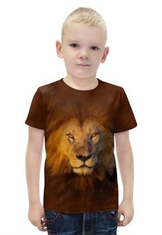 """Футболка с полной запечаткой для мальчиков """"Лев     """" - кошка, хищник, лев, животное, грива"""