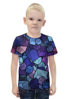 """Футболка с полной запечаткой для мальчиков """"Abstract Cubes"""" - 3d, бездна, кубы, abyss"""