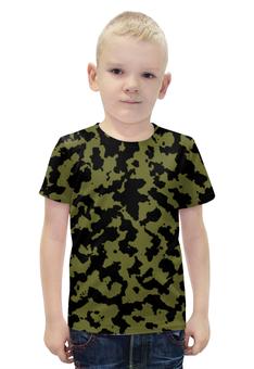 """Футболка с полной запечаткой для мальчиков """"Зелёно-Чёрный Камуфляж"""" - армия, камуфляж, camouflage, военный, зелёно чёрный камуфляж"""