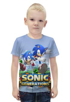 "Футболка с полной запечаткой для мальчиков ""Sonic Generations Green Hill Zone"" - sonic, sega, hedgehog, generations, green hill"