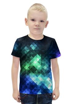"""Футболка с полной запечаткой для мальчиков """"Треугольники"""" - арт, цвета, треугольники"""