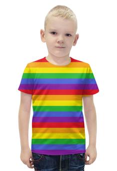 """Футболка с полной запечаткой для мальчиков """"RAINBOW"""" - арт, радуга, rainbow, линии"""