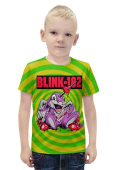"""Футболка с полной запечаткой для мальчиков """"Blink-182"""" - прикольные, заяц, единорог, грибы, blink-182"""