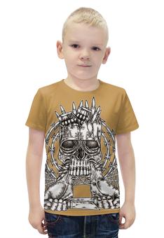 """Футболка с полной запечаткой для мальчиков """"Skull Art"""" - skull, череп, ножи, колючая проволока, гранаты"""