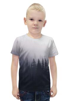 """Футболка с полной запечаткой для мальчиков """"Туман в лесу"""" - лес, forest, туман, fog"""