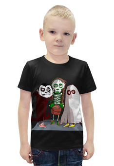 """Футболка с полной запечаткой для мальчиков """"Монстрики"""" - зомби, монстр, скелетон"""