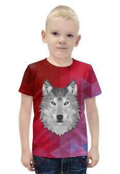 """Футболка с полной запечаткой для мальчиков """"Полигональный Волк"""" - арт, красный, волк, полигоны"""