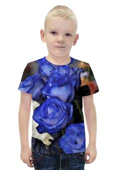 """Футболка с полной запечаткой для мальчиков """"Синие розы"""" - цветы, розы, синие, голубые"""