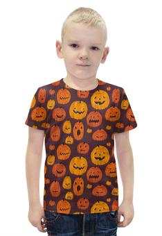 """Футболка с полной запечаткой для мальчиков """"Halloween """" - праздник, хэллоуин, тыква"""