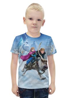 """Футболка с полной запечаткой для мальчиков """"Frozen"""" - мультфильм, принцесса, холодное сердце"""