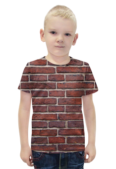 """Футболка с полной запечаткой для мальчиков """"Кирпичная кладка"""" - арт, дизайн, стена, камень, кирпич"""