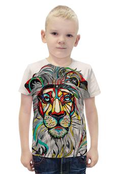 """Футболка с полной запечаткой для мальчиков """"Царь зверей"""" - лев, рисунок, царь зверей"""