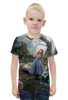 """Футболка с полной запечаткой для мальчиков """"Алиса в стране чудес"""" - сказка, кролик, волшебство, приключения"""