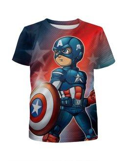 """Футболка с полной запечаткой для мальчиков """"Captain America """" - супергерой, марвел"""