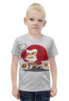 """Футболка с полной запечаткой для мальчиков """"Merry Christmas - рокер Санта"""" - подарок, рождество, санта, хардкор, merry christmas"""