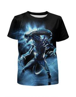 """Футболка с полной запечаткой для мальчиков """"Alien"""" - инопланетянин, ужастик, чужой, пришелец, киноманам"""