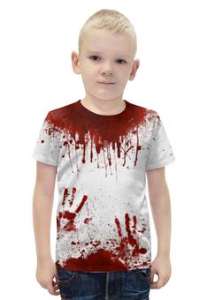 """Футболка с полной запечаткой для мальчиков """"Кровь"""" - хэллоуин, зомби, кровь, маньяк, в крови"""
