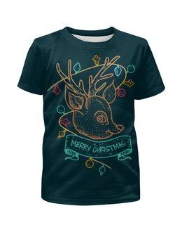 """Футболка с полной запечаткой для мальчиков """"Новогодний олененок"""" - подарок, олень, deer, merry christmas"""