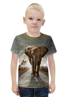 """Футболка с полной запечаткой для мальчиков """"Саванный слон"""" - слон, красивый, необычный"""