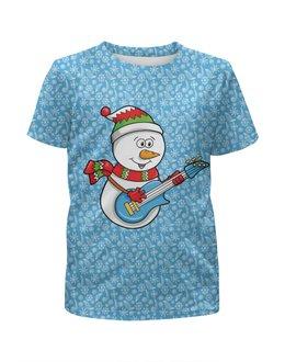 """Футболка с полной запечаткой для мальчиков """"Снеговик с гитарой (новый год)"""" - новый год, снеговик, узоры, нг, снежинки"""