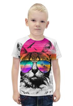"""Футболка с полной запечаткой для мальчиков """"Солнечный Кот"""" - кот, солнце, очки, пляж, пальмы"""