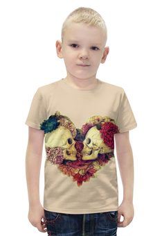 """Футболка с полной запечаткой для мальчиков """"Skull Art"""" - skull, сердце, heart, цветы, черепа"""