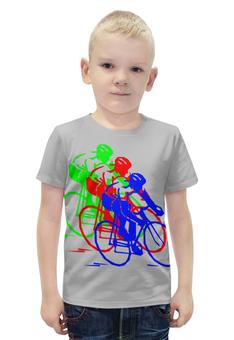 """Футболка с полной запечаткой для мальчиков """"Велосипедисты"""" - спорт"""