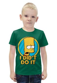"""Футболка с полной запечаткой для мальчиков """"Барт Симпсон. Я этого не делал"""" - simpsons, прикольные, bart, барт симпсон, симпспоны"""
