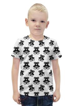 """Футболка с полной запечаткой для мальчиков """"Черно-белые мишки"""" - 14 февраля, сердечки, черно-белые, мишки"""