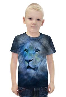 """Футболка с полной запечаткой для мальчиков """"Лев зодиак"""" - лев кошки животные знак зодиак"""