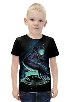 """Футболка с полной запечаткой для мальчиков """"Космический Диджей"""" - музыка, космос, галактика, диджей, космонавт"""