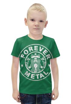 "Футболка с полной запечаткой для мальчиков ""Starbucks / Forever Metal"" - heavy metal, coffee, starbucks, metalhead, хеви метал"