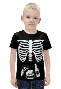 "Футболка с полной запечаткой для мальчиков ""What do we eat?"" - еда, skeleton, скелет, рёбра, ribs"