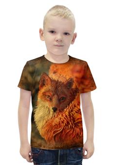 """Футболка с полной запечаткой для мальчиков """"Крылатый лис"""" - авторские майки, лиса, лисица, животное"""