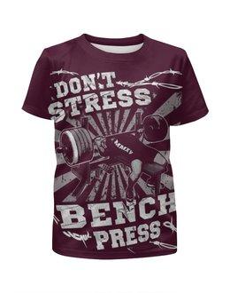 """Футболка с полной запечаткой для мальчиков """"Bench Press"""" - спорт, бодибилдинг, культурист, арт дизайн, штанга"""