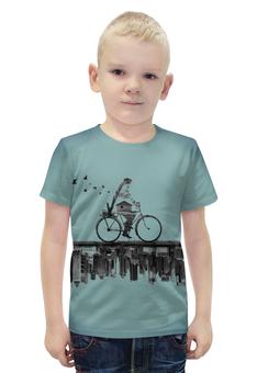 """Футболка с полной запечаткой для мальчиков """"Город внизу"""" - город, велосипед"""