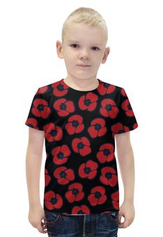 """Футболка с полной запечаткой для мальчиков """"красные маки"""" - авторские майки, цветок, мак"""