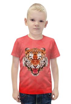 """Футболка с полной запечаткой для мальчиков """"Полигональный тигр"""" - арт, красный, дизайн"""