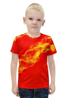 """Футболка с полной запечаткой для мальчиков """"FIRE!"""" - огонь, пламя, fire, сила, языки"""