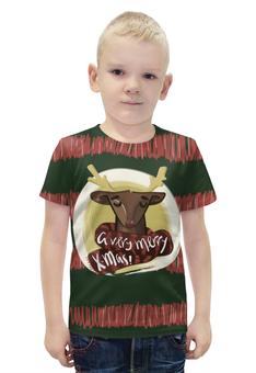 """Футболка с полной запечаткой для мальчиков """"A very merry X-Mas"""" - подарок, рождество, олень, deer, merry christmas"""