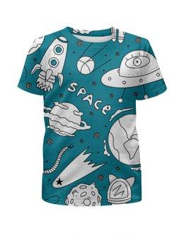 """Футболка с полной запечаткой для мальчиков """"Space"""" - в космосе, ракеты, планеты, кометы"""
