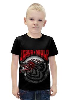 """Футболка с полной запечаткой для мальчиков """"Jesus wolf """" - волк"""